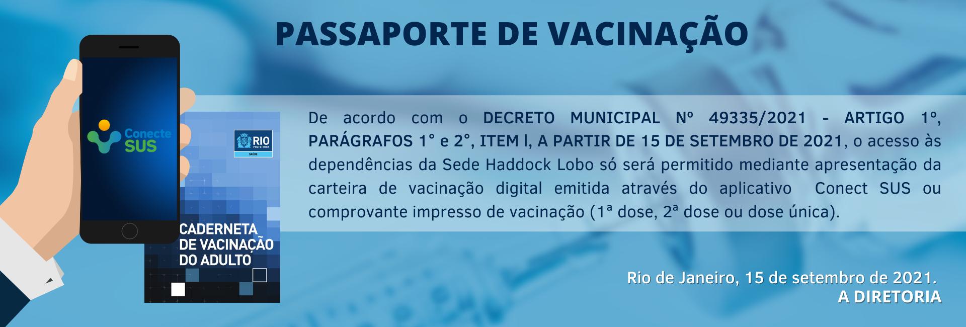 Comunicado Passaporte de Vacinação Covid-19